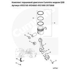 Комплект поршневой двигателя Cummins модели QSB Артикул 4955160 4934860 4931888 3975868, фото 2