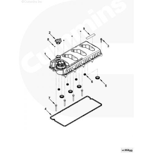 Крышка клапанного механизма двигателя Cummins -- Камминз ISF2.8 №5262617 / 5262618, фото 3